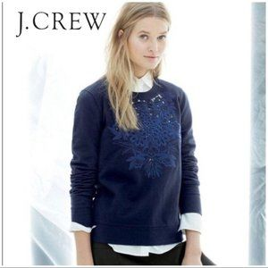 J. Crew Cutout Floral Pullover Sweater A2668 Navy